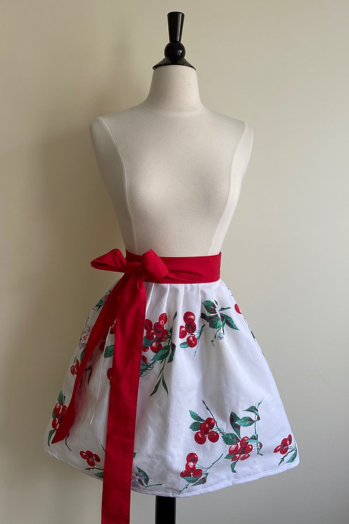 Cherries Waist Vintage Tablecloth Apron