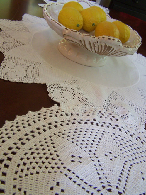 Vintage Doily Table Runner 60""