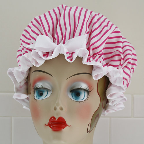 Women's Shower Cap Candy Stripe Pink Shower Cap
