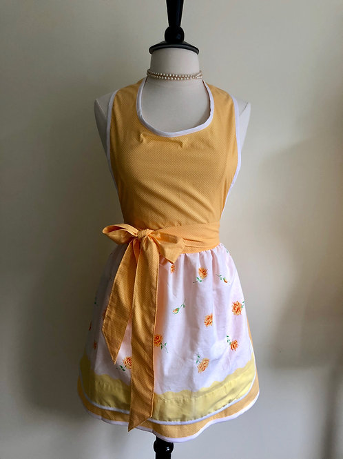 """Buttery Roses"" Vintage Pillowcase Apron"