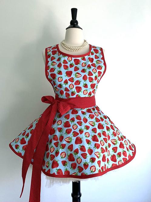 Strawberries on Blue Retro Circle Skirt Apron
