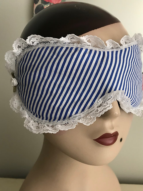 Sleep Mask Blue & White Stripes