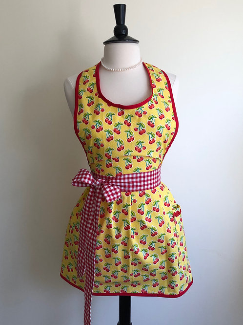 Cherries on Yellow Retro Apron