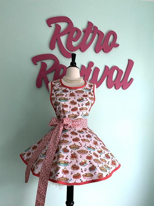 Cherry Pie Pink Circle Skirt Retro Apron