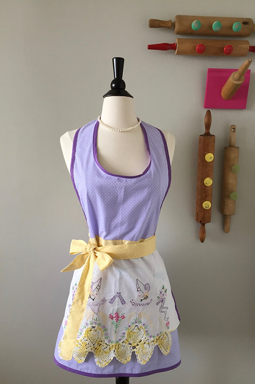 Hand Embroidered Pretty Lady Vintage Fabric Apron