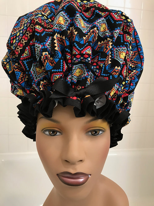 XL Natural Hair Shower Cap African Inspired Print