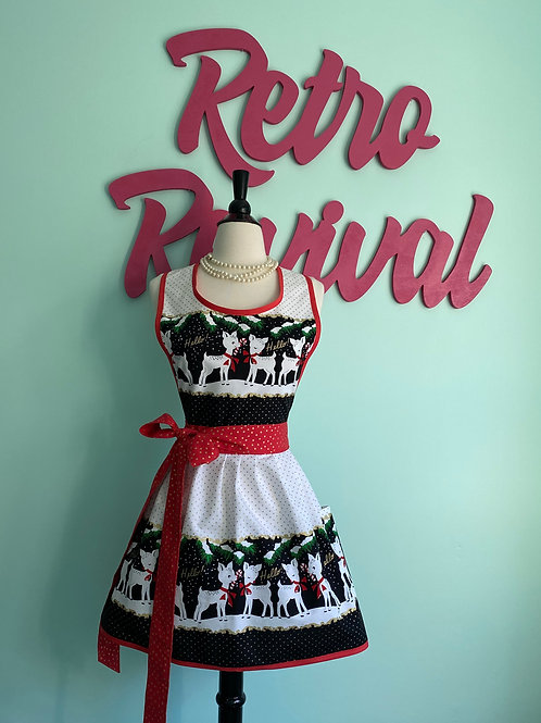 Hello Deer Retro Christmas Apron