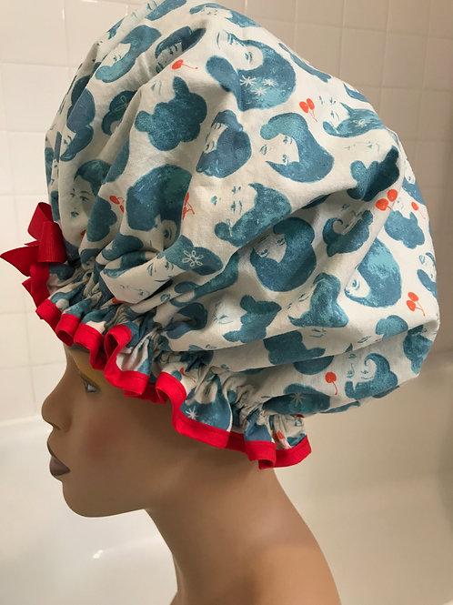 XL Natural Hair Shower Cap 1960's Divas Denim Blue