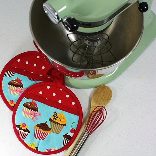 Set of 2 Cupcakes Blue Pot Mitts
