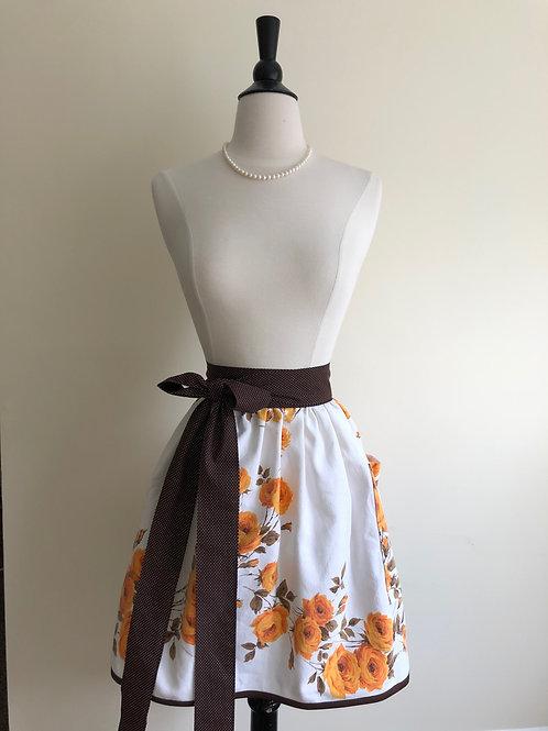 """Harvest Rose"" 1950s Tablecloth Waist Apron"