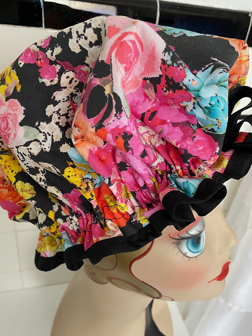 "Women's Shower Cap Ruffled ""Spring Bouquet"""