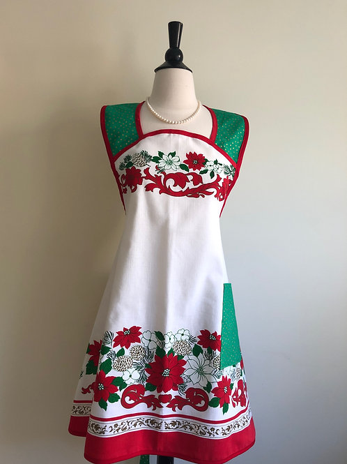 """Christmas Poinsettias"" Vintage Tablecloth A-Line Apron"