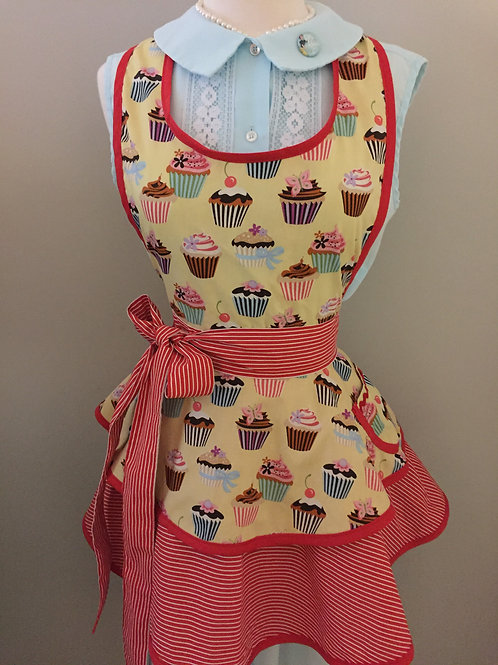 Retro Apron Cupcakes with Stripes Apron