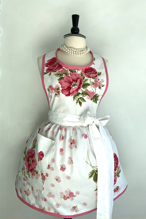 Pink Floral Vintage Tablecloth #2 Retro Apron