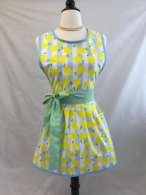 Lemons on Sky Blue Stripes Retro Apron