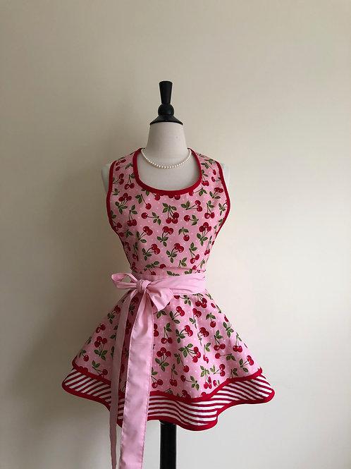 Cherries on Pink Double Circle Skirt Retro Apron