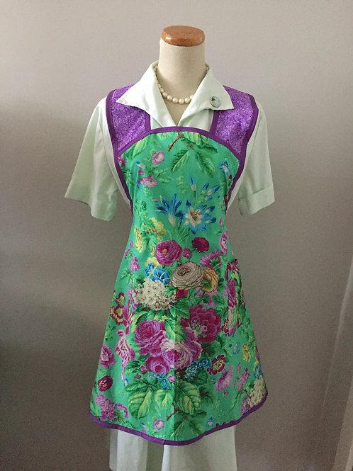 Retro Apron 1940's Style Flowers on Teal Apron