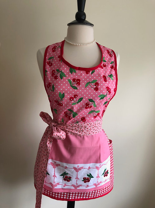 Cherries on Pink Tea Towel Retro Apron