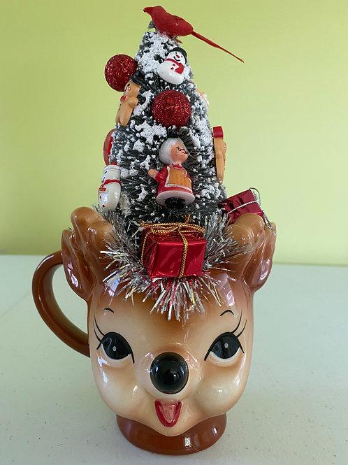Vintage Christmas Decoration Centerpiece in Deer Mug #4
