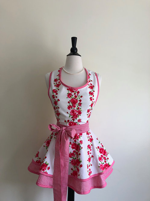 Roses and Gingham Double Circle Skirt Retro Apron