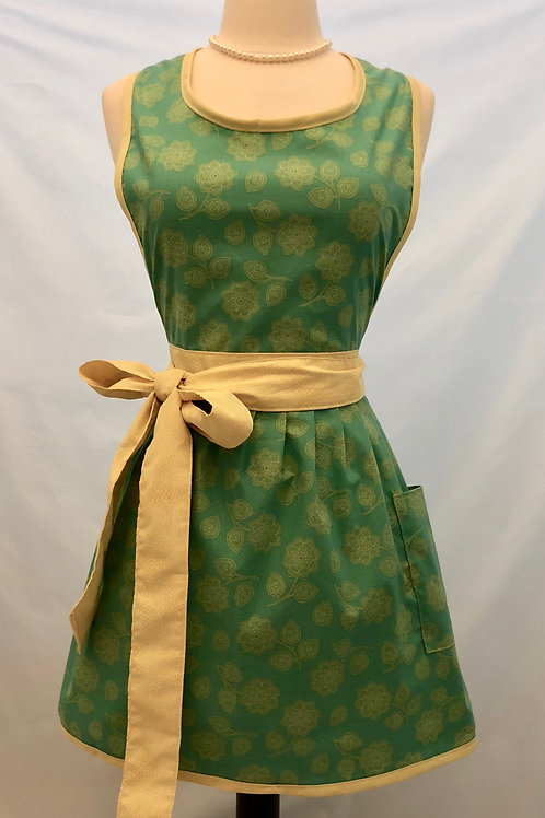 Gold Flowers on Teal Green Retro Apron
