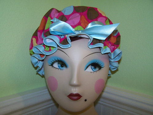 Funky Dots Pink Shower Cap