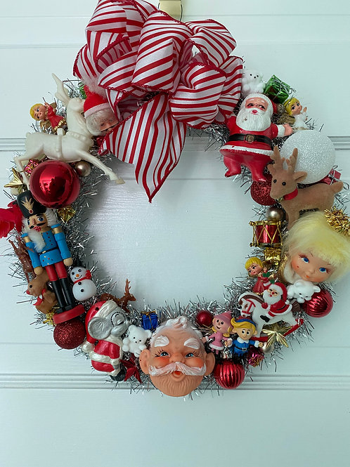 Vintage Kitsch Christmas Angel Tinsel Wreath