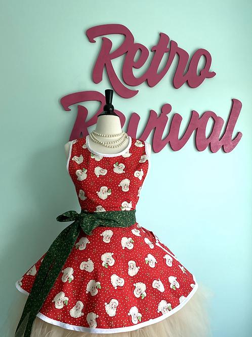Smiling Santa Red Retro Circle Skirt Christmas Apron
