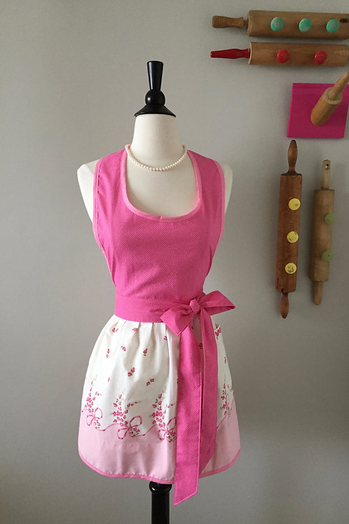 Pink Roses & Bows Vintage Fabric Apron