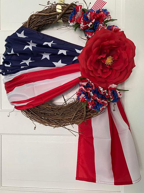 Patriotic Full Bloom Red Rose 4th of July Americana Wreath