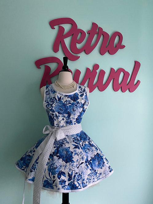 China Blue Floral Circle Skirt Retro Apron