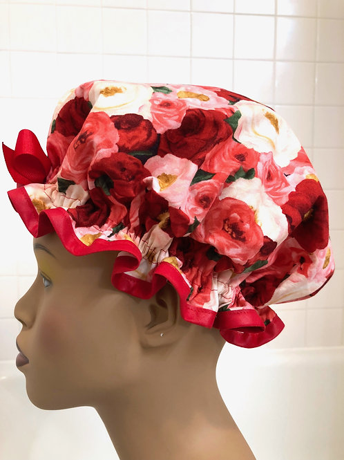 "Women's Shower Cap Ruffled ""Red Romance"""