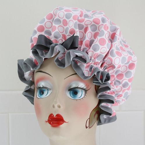 Pink Grey Polka Dots Shower Cap