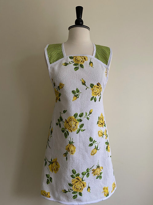 Gold Roses A-Line Vintage Terrycloth Tablecloth Apron