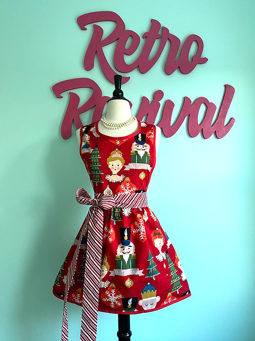 Nutcracker Suite Red Retro Christmas Apron