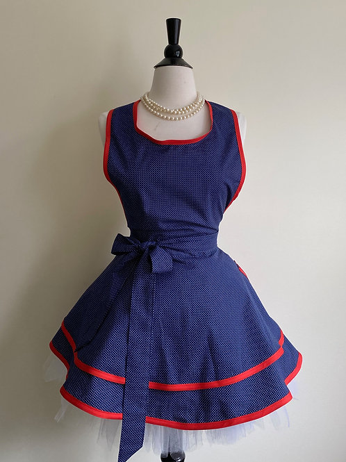 Navy and Red Double Circle Skirt Retro Apron