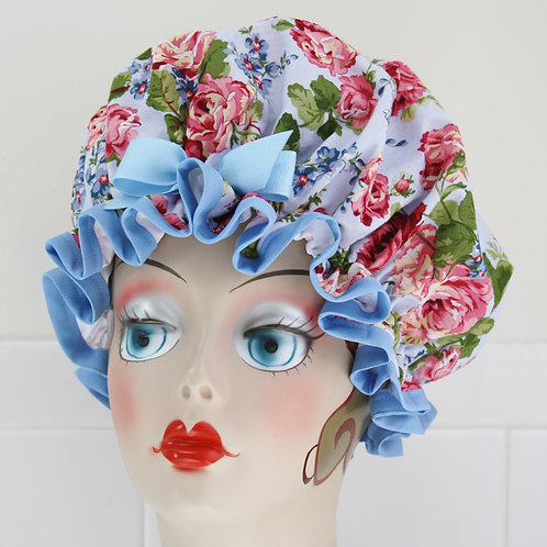 Roses Blue Shower Cap