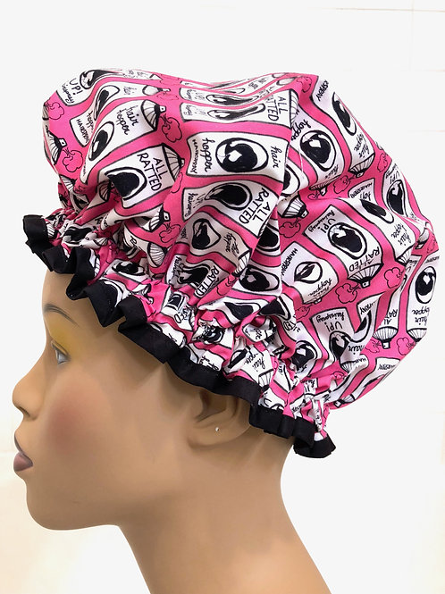 Hairspray Pink Ruffled Shower Cap