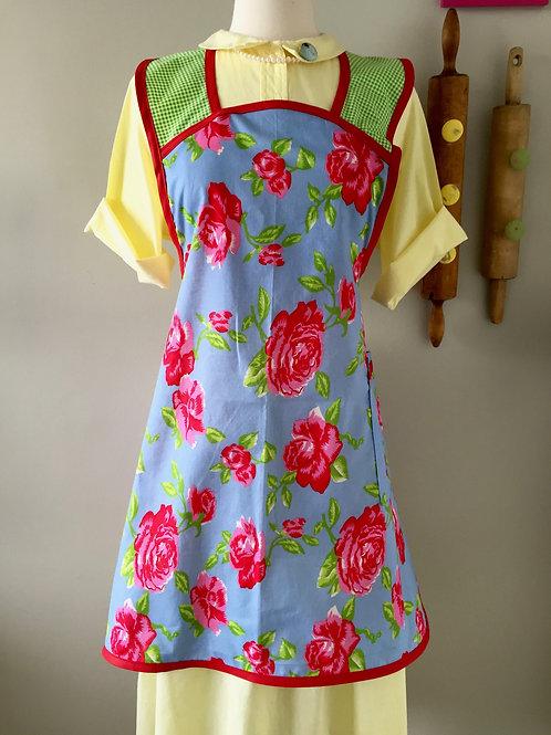Retro Apron 1940's Style Garden Roses Apron