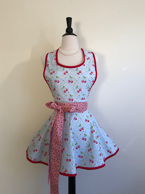 Cherries on Blue Circle Skirt Retro Apron
