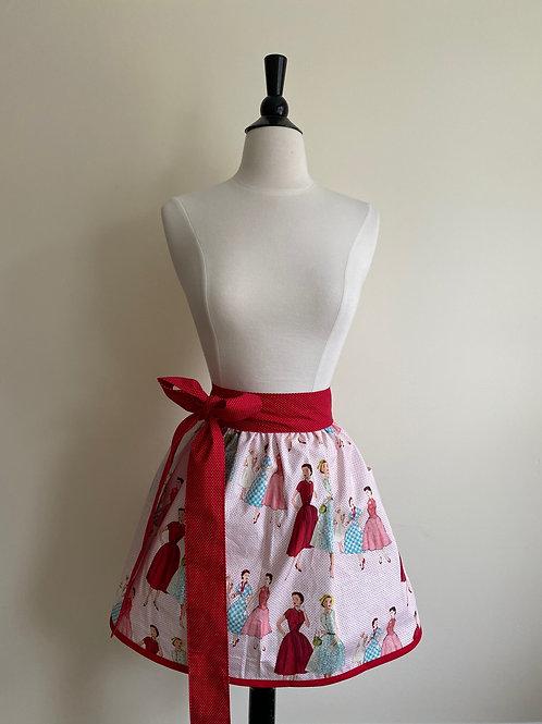 Vintage Fashion Waist Apron Red