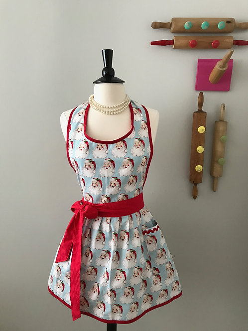 Retro Apron Smiley Santa on Blue