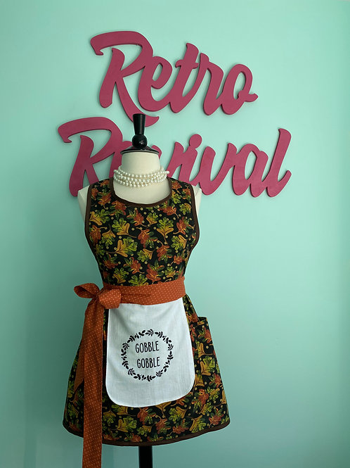 Gobble Gobble on Black Thanksgiving Retro Apron
