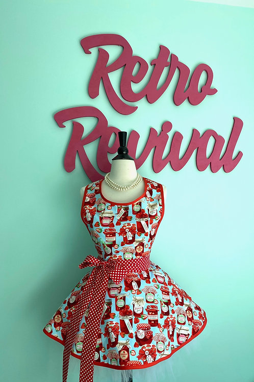 """Strawberry Jam"" Circle Skirt Retro Apron"