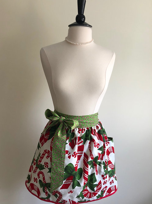 """Candy Canes"" 1950s Tablecloth Waist Apron"
