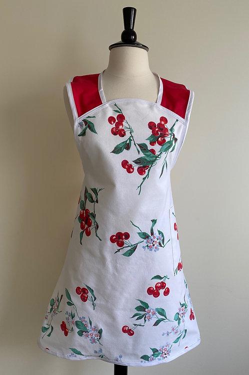 Cherries A-Line Vintage Tablecloth Apron