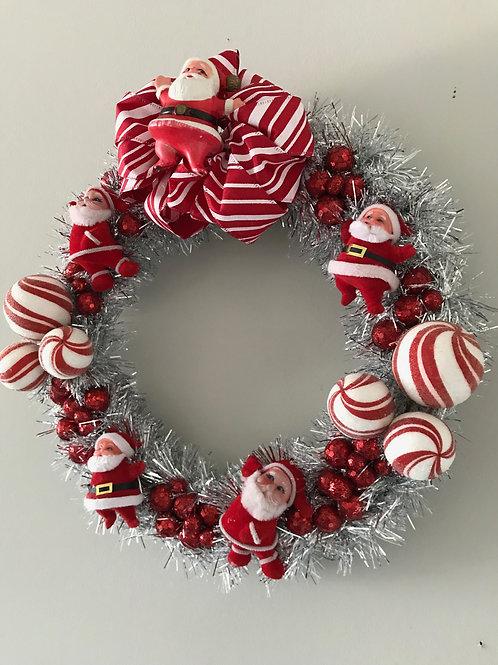 Tinsel Vintage Kitsch Christmas Santa Wreath #1