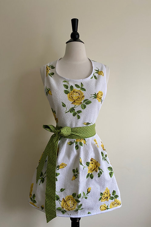 Gold Roses Vintage Terrycloth Tablecloth Apron