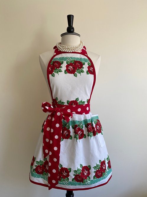 Red and Aqua Roses Retro Apron