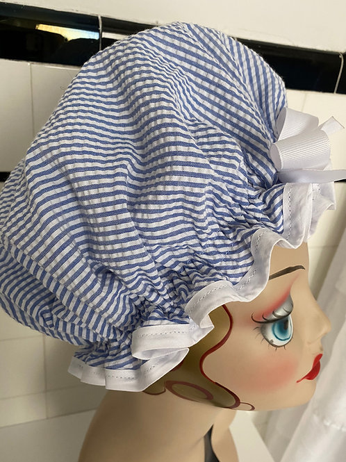 "Women's Retro Rita Shower Cap ""Blue White Seersucker"""